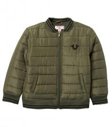 True Religion Little Boys Olive Quilted Bomber Jacket