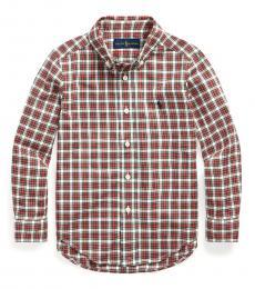 Ralph Lauren Little Boys Red/Cream Multi Tartan Poplin Shirt