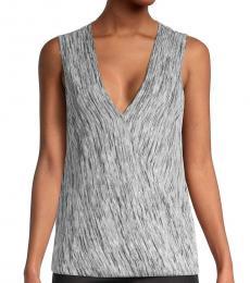 BCBGMaxazria White Knit Sleeveless Wrap Top