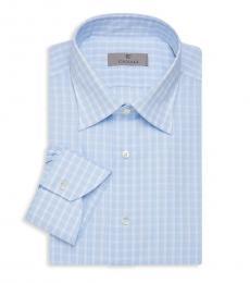 Canali Light Blue Modern-Fit Check Dress Shirt