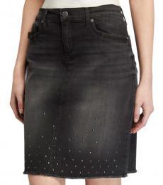 Karl Lagerfeld Black Studded Denim Skirt