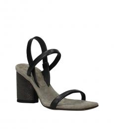 Brunello Cucinelli Black Slingback Leather Heels