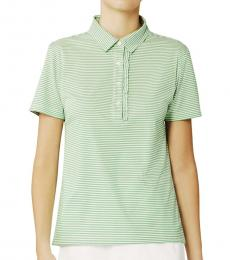 Tory Burch Green Striped Ruffle Polo Tee