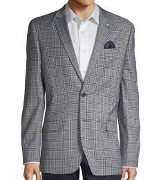 Ben Sherman Grey Plaid Notched Sportcoat