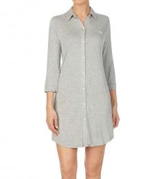Ralph Lauren Grey Dot Three-Quarter-Sleeve Sleep Shirt