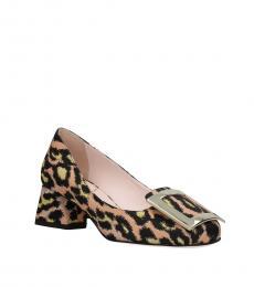 Leopard Print Front Logo Heels