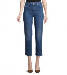 7 For All Mankind Retro Blue High-Waist Cropped Straight Jeans