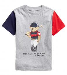 Ralph Lauren Little Boys Andover Heather Polo Bear T-Shirt