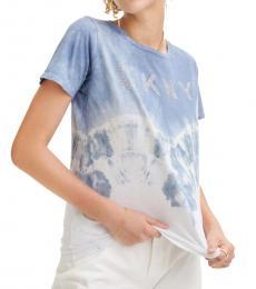 DKNY Blue Dip Tie-Dye Logo Tee