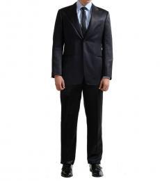Armani Collezioni Blue Striped Silk Wool Suit