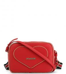 Love Moschino Red Heart Stud Small Crossbody