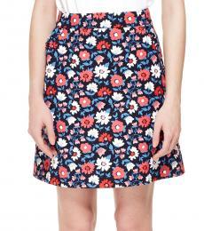 Rich Navy Daisy Jacquard A-Line Skirt