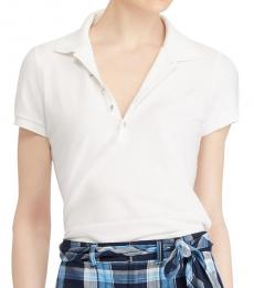 Ralph Lauren White Monogram Mesh Polo