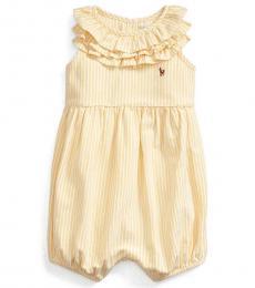 Ralph Lauren Baby Girls Yellow/White Striped Bubble Shortall