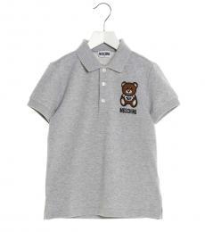 Moschino Boys Grey Teddy Polo