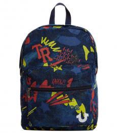 True Religion Dark Blue Patch Large Backpack