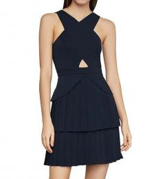 BCBGMaxazria Dark Navy Cross-Neck Pleated Mini Dress