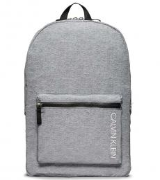 Calvin Klein Grey Logo Zip Large Backpack