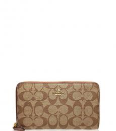 Coach Khaki/Saddle Continental Zip Around Wallet