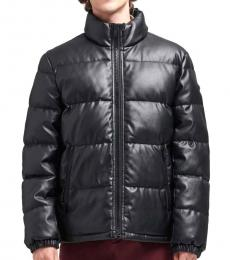 Black Faux Leather Quilted Puffer