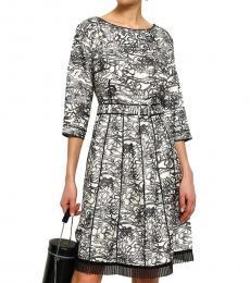 Marc Jacobs Gray Pleated Organza Silk-Twill Dress