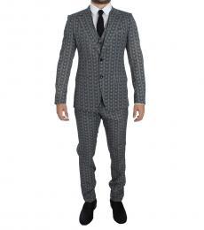 Dolce & Gabbana Blue Owl Print Slim Fit Suit