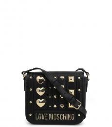 Love Moschino Black Metal Studs Flap Small Crossbody
