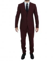 Dolce & Gabbana Cherry 3 Piece Stretch Wool Suit
