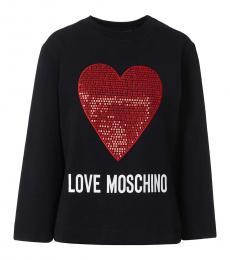 Love Moschino Black Glitter Heart Logo Sweater