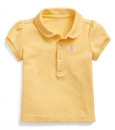 Ralph Lauren Baby Girls Empire Yellow Puff-Sleeve Interlock Polo