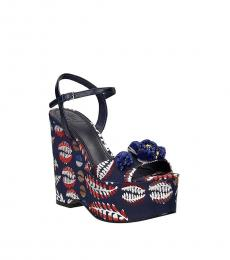 Tory Burch Blue Ankle Strap Printed Wedges