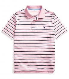 Ralph Lauren Boys Carmel Pink Striped Performance Polo