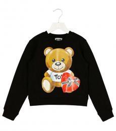 Moschino Little Girls Black Teddy Sweatshirt