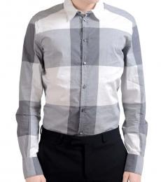 Dolce & Gabbana Grey White Plaid Shirt