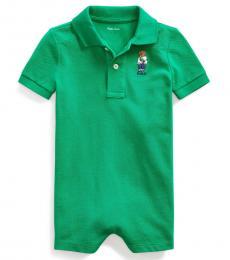 Baby Boys Chroma Green Fanny Pack Bear Shortall