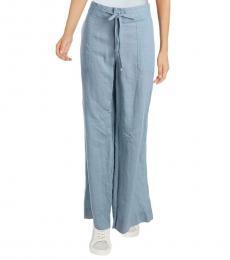 Ralph Lauren English Blue Linen Wide Leg Casual Pants