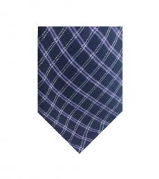 Michael Kors Navy Modern Plaid Silk Tie