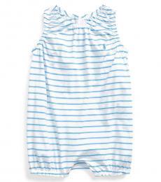 Ralph Lauren Baby Girls Chatham Blue Striped Bubble Shortall