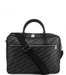 Emporio Armani Black Signature Large Briefcase Bag