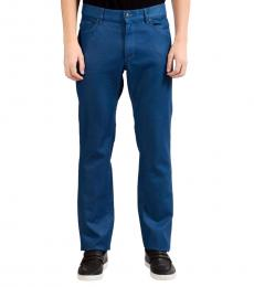 Versace Collection Blue Trend Coated Pants