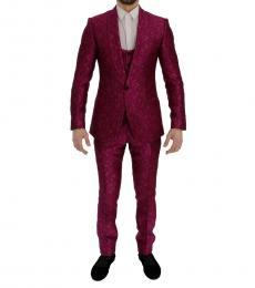 Pink Jacquard Slim Fit Suit