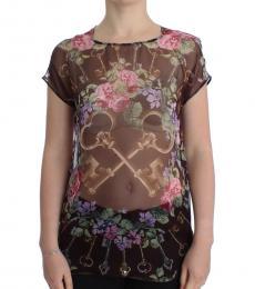 Dolce & Gabbana Brown Key Floral Top