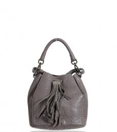 Grey Textured Mini Bucket Bag
