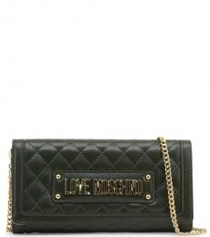 Love Moschino Dark Green Quilted Mini Shoulder Bag