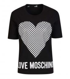 Love Moschino Black Solid Heart Logo Tee