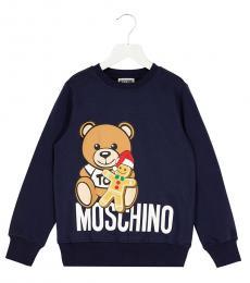 Moschino Boys Blue Teddy Logo Sweatshirt