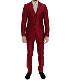 Pink Jacquard Slim Fit Two Button Suit