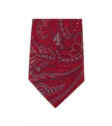 Red Neat Paisley Slim Silk Tie