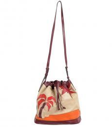 Just Cavalli Beige Graphic Medium Bucket Bag