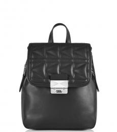 Black Solid Small Backpack